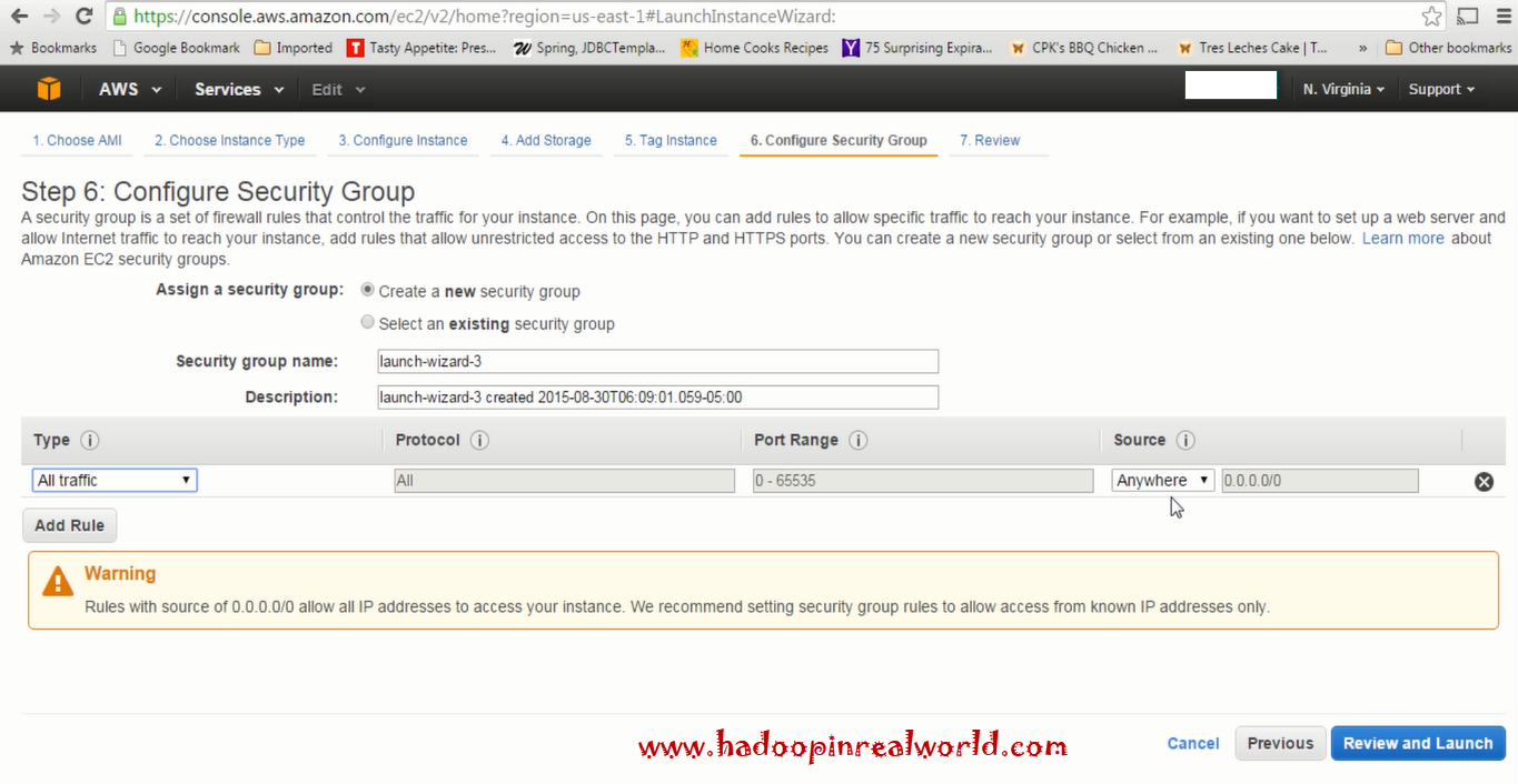 Configure security groups in AWS